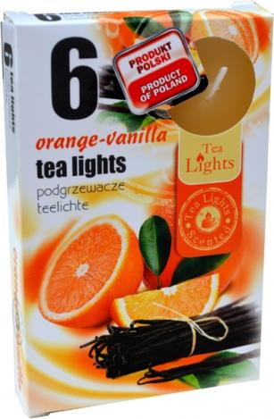 Tea lights (6psc.) - ORANGE, VANILLA